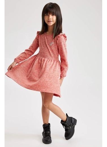 DeFacto Kız Çocuk Kol Fırfır Detaylı Elbise Kırmızı